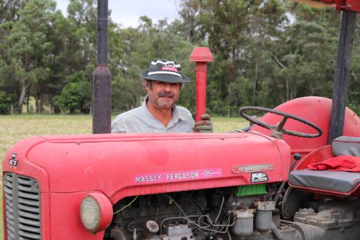 Sonnschein Strawberry Farm, Dieter and his tractor